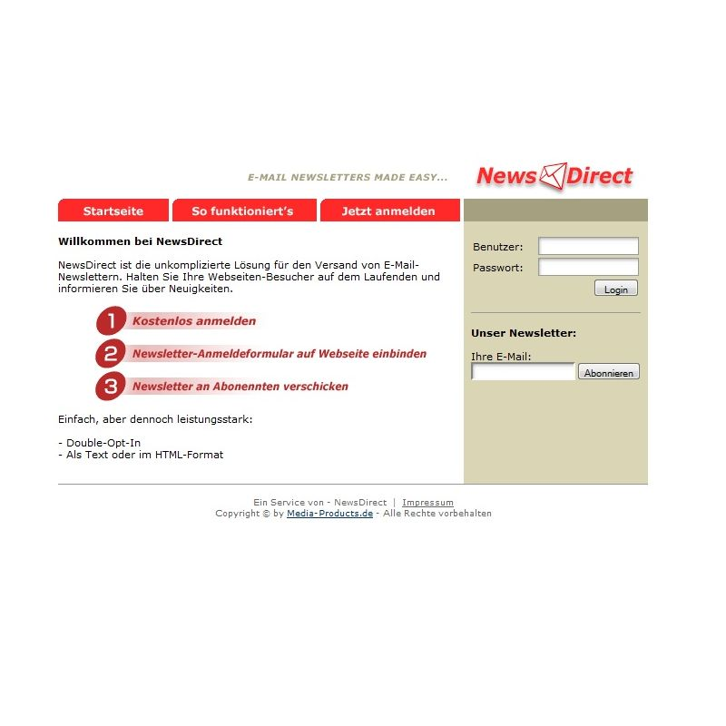 Newsletter Hoster Service Portal